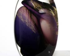 Purple Gold Vortex Pod, 2012, free blown glass, gold, ground, polished, 11 1/2 x 8 x 4""