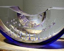 """U-40 Wreck Boat, 2002, cast lead crystal, 6 x 14 x 4"""""""