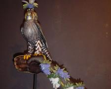 Bamboo Wisteria Falcon, 2005, blown and sculpted glass, 25 x 14 x 9""