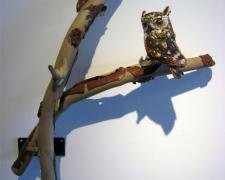 Screech Owl in Madrona, 2009, blown, off-handed sculpted glass, 22 x 20 x 7""