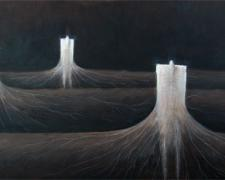 The Powerful Engines, 2010, acrylic on canvas, 18 x 40""