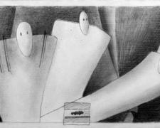Three Conversations, 2008, graphite on gessoed panel, 6 x 12""