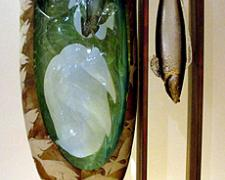 From East to West Fish Hanger #15, 2003, blown and cast glass, 23 x 12 x 6""
