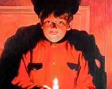 Young Haruspice with Candle, 2002, acrylic on wood panel, 47 x 28""