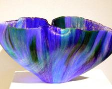 Aquazzone, 2003, fused glass thread, 7 1/2 x 15 3/4 x 11 3/4""