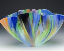 Cantor, 2005, filet-de-verre (fused and thermo formed color glass threads), 10 x 17 3/4 x 11""