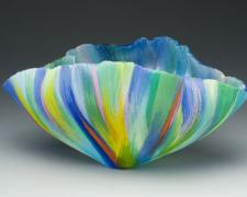 Sottacqua, 2005, filet-de-verre (fused and thermo formed color glass threads), 6 3/4 x 13 x 7 1/8""
