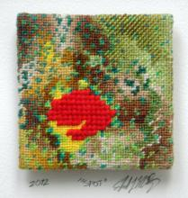 "Spot, 2013, series ""Not Your Mother's Needlepoint"", yarn painting, cotton embroidery floss, tapestry wool, 14 x 11 x 1 1/2"""