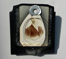 """Olga Starostina, Narciss, 2014, mixed media, 8 x 7 1/4 x 2 3/4"""""""