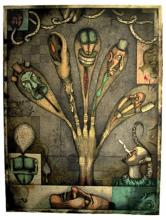 My Rotten Hand 2001 intaglio/graphite/colored pencil/collage 23 3/4 x 17 5/8""