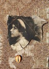"They Say She was Color Struck 2011 intaglio on sycamore leaf and found objects frame: 8 1/4 x 6 1/4"" / i.s. 5 x 3 1/2"""