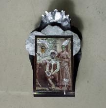 """Vladyslav Krasnoshchok and Olga Starostina, Trinity, 2011-2014, mixed media collage, 8 3/4 x 5 1/2 x 2 3/4"""""""