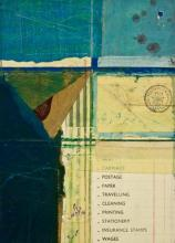 """document #4, 2012, mixed media collage, f.s. 15 1/4 x 12 1/4"""" / i.s. 7 1/4 x 5"""""""