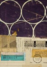 """document #9, 2013, mixed media collage, f.s. 15 1/4 x 12 1/4"""" / i.s. 7 1/4 x 5"""""""