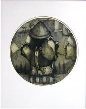 """Love Letter 2002 intaglio, graphite, monoprint 12 """" diameter"""