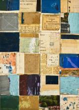 """document #12 2013 mixed media collage frame: 15 1/4 x 12 1/4""""/i.s. 7 1/4 x 5 1/4"""""""