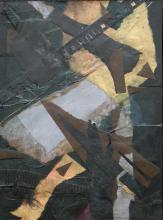 "Achromatic - 2013 paper collage on masonite 12 x 9 x 1/8"""
