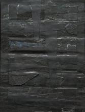 "Monochrome Noir - 2013 collage on masonite 12 x 9 x 1/2"""