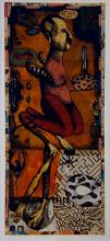 """Seeing His Voice 2003 intaglio/watercolor/ink/collage 16 3/4 x 7 3/8"""""""