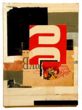 number 8 2004 Acrylic, found paper collage on museum board 6 1/4 x 4 3/4""