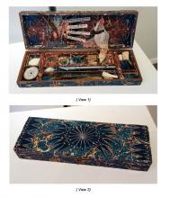 """How Do I Love Thee, Homage To My X-ACTO Knife, 2013, wooden box, marbled paper, knife blades, made and found objects, 11 1/2 x 2 x 5"""""""