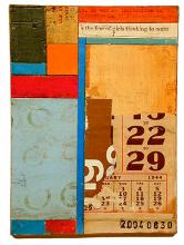 number 27 2004 Acrylic, found paper collage on museum board 6 1/4 x 4 1/2""