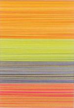 """Linear Collage II (Dominant Yellow), 2013, cut and stacked colored paper, 6 1/2 x 4 1/2 x 1 1/2"""""""