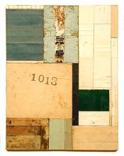 """number 41 2004 Acrylic, found paper collage on museum board 9 5/8 x 7 1/2"""""""