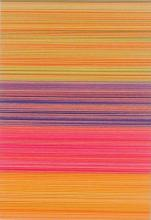 """Linear Collage (Dominant Orange), 2012, cut and stacked colored paper, 6 1/2 x 4 1/2 x 1 1/2"""""""