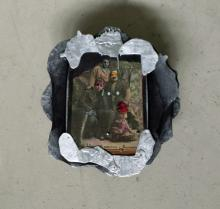 "Vladyslav Krasnoshchok and Olga Starostina, Divers, 2011-2014, mixed media collage, 7 1/2 x 7 x 2 1/4"""