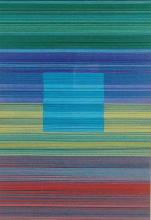 Spectrum Square II (Blue), 2013, cut and stacked colored paper, 6 1/2 x 4 1/2 x 1 1/2""