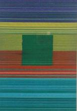 Spectrum Square III (Green), 2013, cut and stacked colored paper, 6 1/2 x 4 1/2 x 1 1/2""