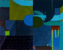 """Comes The Night 2007 acrylic on museum board 12 1/2 x 14 1/2"""""""