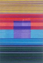 Spectrum Square IV (Purple), 2013, cut and stacked colored paper, 6 1/2 x 4 1/2 x 1 1/2""