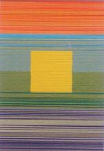 Spectrum Square V (Yellow), 2013, cut and stacked colored paper, 6 1/2 x 4 1/2 x 1 1/2""