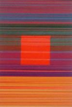 """Spectrum Square (Red), 2013, cut and stacked colored paper, 6 1/2 x 4 1/2 x 1 1/2"""""""