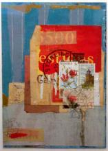"""question 2003 mixed media collage on museum board 8 1/4 x 6"""""""