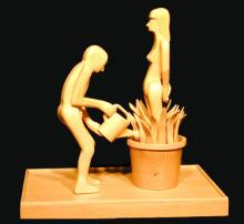 Man With Watering Can 2000 Wood 9 7/8 x 9 3/4 x 6""
