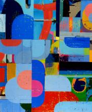 """imple Arithmetic 2006 acrylic collage on museum board 18 1/2 x 16"""""""