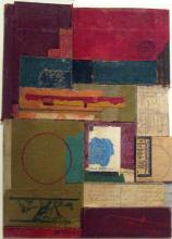 """stonehead 2010 mixed media collage on museum board 13 1/2 x 10"""""""