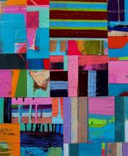 """Your Eyes Fill Me 2007 acrylic collage on museum board 17 1/2 x 14 1/2"""""""