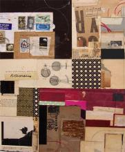 """the wiggle of a worm 2007 mixed media collage 17 1/2 x 14"""""""
