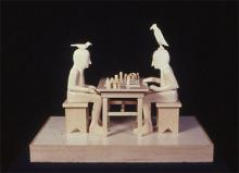 Two Men Playing Game 2001 Wood 7 3/4 x 10 3/8 x 6 3/8""