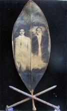 Steel Brothers 2011 Mixed media; intaglio on magnolia leaf, found objects 5 x 7""