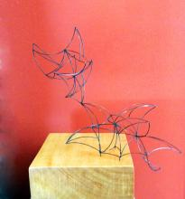 """Line Drawing #7, 2013, patinated bronze and wood (Yellow Heart), 10 x 6 x 6"""""""