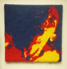 "Le Petite Mort, 2012, series ""Not Your Mother's Needlepoint"", yarn painting, cotton embroidery floss, on Petite Pointe canvas, f.s. 14 x 9 x 1 1/2"" / i.s. 3 x 4 1/2"