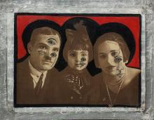 """Vladyslav Krasnoshchok and Olga Starostina, Trinity, 2015, mixed media, 15 x 19 x 2"""""""