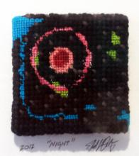 "Night, 2013, series ""Not Your Mother's Needlepoint"", yarn painting, cotton embroidery floss, tapestry wool, 14x 11 x 1 1/2"""