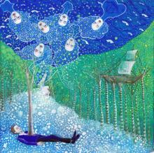 """Adrift on Memory Bliss, 2014, gouache on paper, 7 3/8 x 7 1/2"""""""