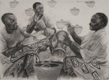 Champion Ladies, 2011, charcoal, 22 x 30""